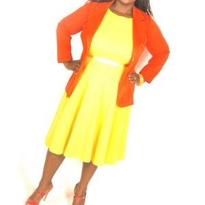 Haani Yellow Fit and Flare Dress Size 2XP